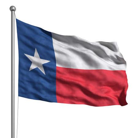 Flagge von Texas. Rendered mit Gewebestruktur (sichtbar bei 100%). Clipping-Pfad enthalten.