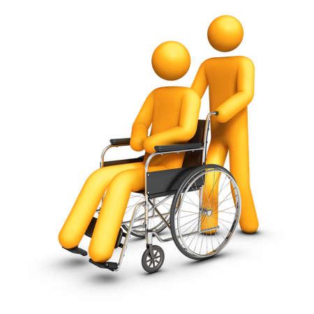 persona en silla de ruedas: Silla de ruedas - ayudando a mano. Foto de archivo