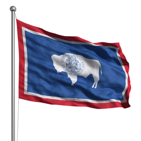 wisconsin flag: Flag of Wyoming. Rendered with fabric texture (visible at 100%).  Clipping path included. Stock Photo