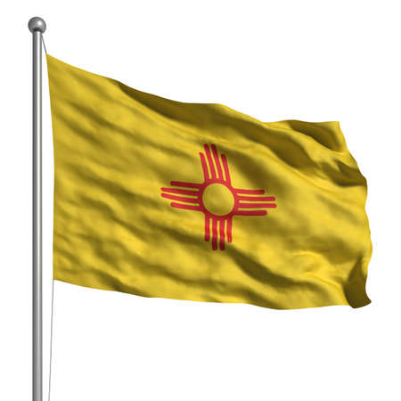 Flag of New Mexico. Rendered with fabric texture (visible at 100%). Clipping path included. photo
