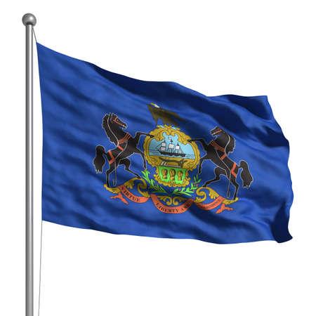 Flag of Pennsylvania. Rendered mit Gewebestruktur (sichtbar bei 100%). Clipping-Pfad enthalten. Standard-Bild