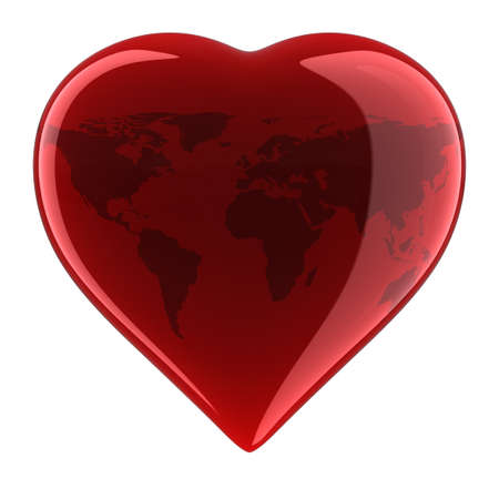 Heart Shape with World Map. Stock Photo - 10033933