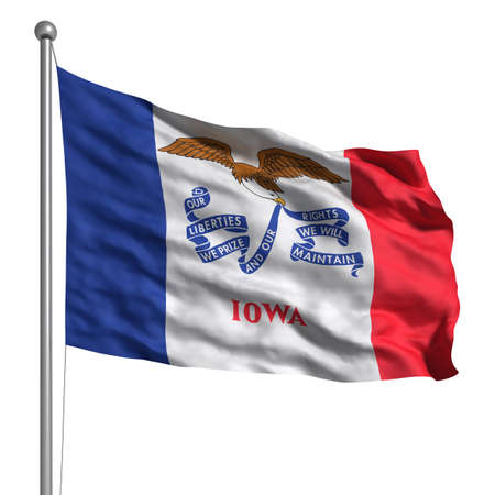 Flag of Iowa. Rendered with fabric texture (visible at 100%). Clipping path included. photo