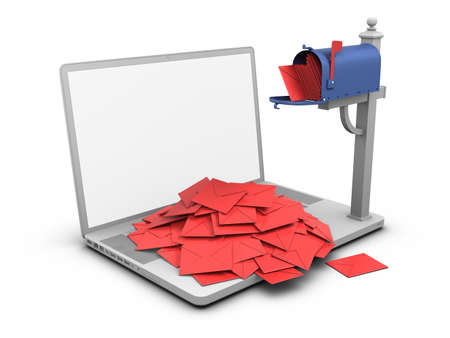 spam mail: Laptop - Mailbox. Stock Photo