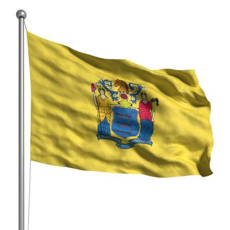 Flag of New Jersey. Rendered with fabric texture (visible at 100%). Clipping path included. Stock Photo