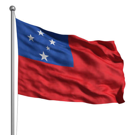 samoa: Flag of Samoa. Rendered with fabric texture (visible at 100%). Clipping path included.