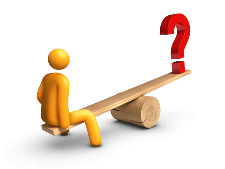 Stick figure sitting on seesaw with Question Mark