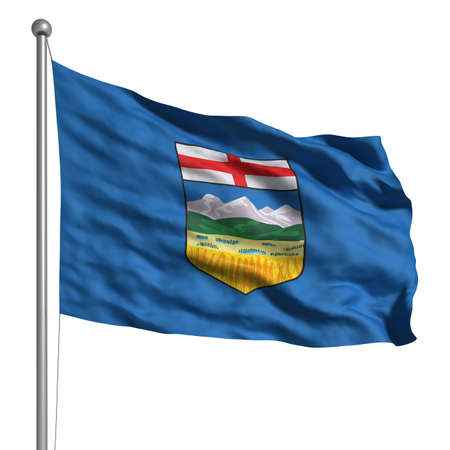 Flag of Alberta. Rendered with fabric texture (visible at 100%).  Clipping path included.