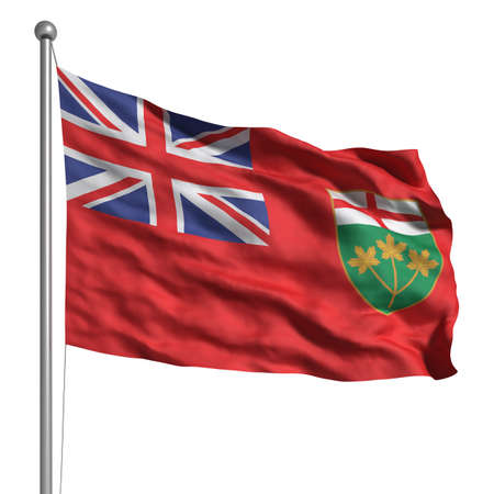 canadian state flag: Flag of Ontario. Rendered with fabric texture (visible at 100%).  Clipping path included. Stock Photo