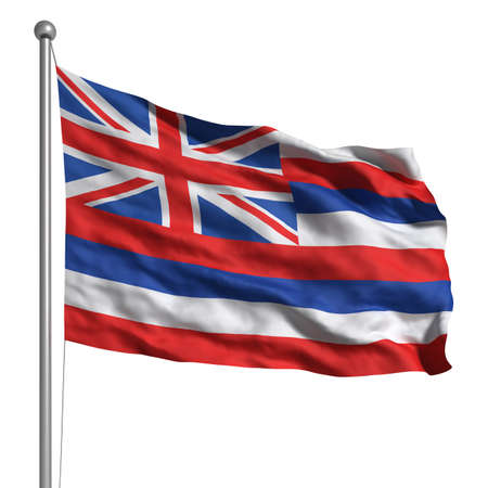 hawaii flag: Flag of Hawaii. Rendered with fabric texture (visible at 100%).  Clipping path included.
