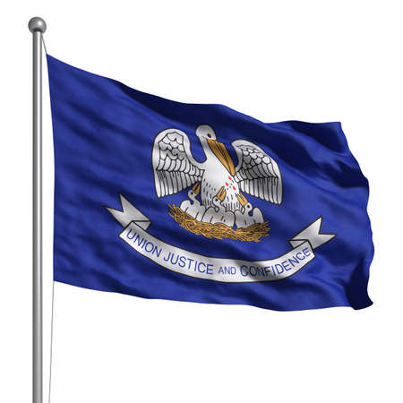 louisiana flag: Flag of Louisiana. Rendered with fabric texture (visible at 100%).  Clipping path included. Stock Photo