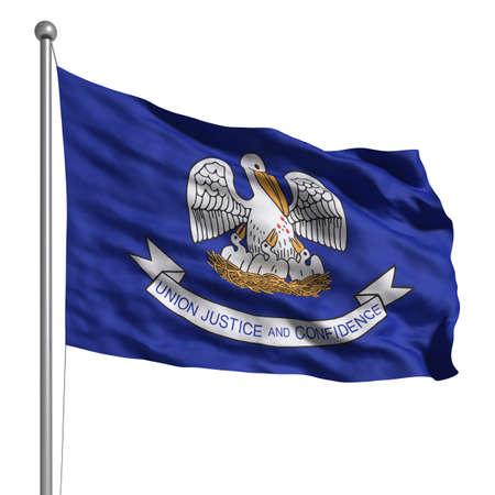 Flagge von Louisiana. Übertragen mit Gewebestruktur (sichtbar bei 100%). Clipping-Pfad enthalten.