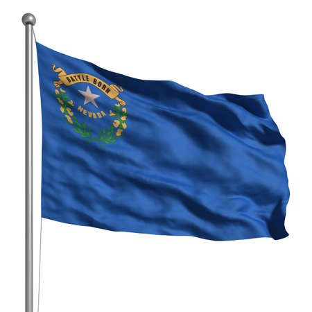 Flag of Nevada. Rendered with fabric texture (visible at 100%). Clipping path included. photo