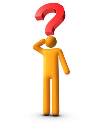 3D renderedstick figure thinking - Question Mark