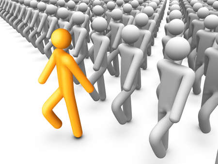 conformity: 3d stick figure walking in front of crowded.
