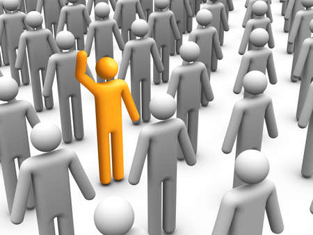 3d stick figur som står ut från folkmassan Stockfoto