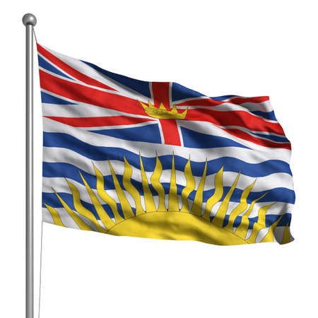 Flag of British Columbia. Rendered with fabric texture (visible at 100%).  Clipping path included. photo