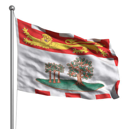 canadian state flag: Flag of the Prince Edward Island. Rendered with fabric texture (visible at 100%).  Clipping path included.