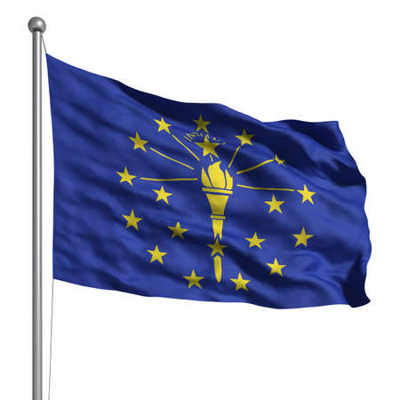 Flagge von Indiana. Übertragen mit Gewebestruktur (sichtbar bei 100%). Clipping-Pfad enthalten. Standard-Bild