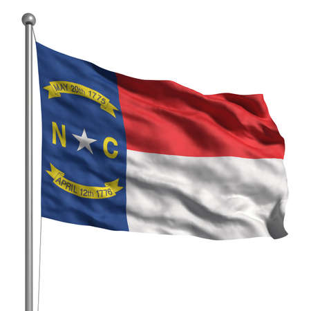 north carolina: Flag of North Carolina. Rendered with fabric texture (visible at 100%). Clipping path included. Stock Photo
