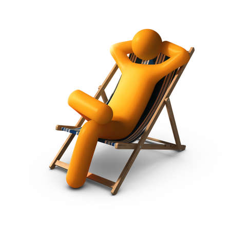Stick figure Sitting on deck chairs enjoying vacation Stock Photo - 10033939