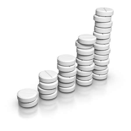 aspirin: 3D rendered grap of medicine demand