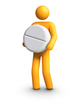Stick figure carrying white pill Stock Photo - 10097614