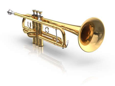 trompeta: Trompeta sobre fondo blanco con la reflexión y la sombra.