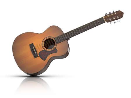 Akustik-Gitarre mit Reflexion auf weißem Grund.