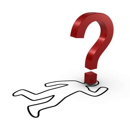 murdering: Chalk Outline with Question Mark Stock Photo