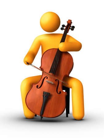 3D rendered stick figure playing cello.Stick