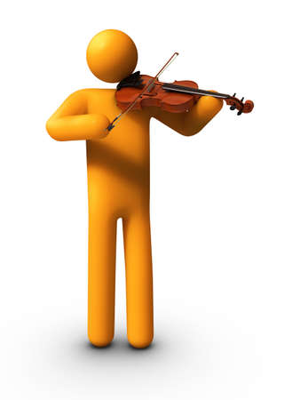 3D rendered stick figure playing Violin. photo
