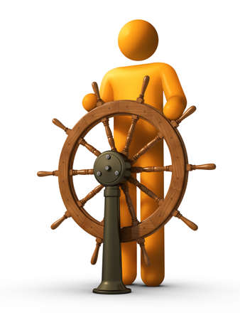 3D rendered stick figure captain using yacht. photo