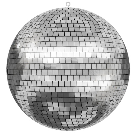 mirrorball: 3D rendered Disco Mirrorball on white background. Stock Photo