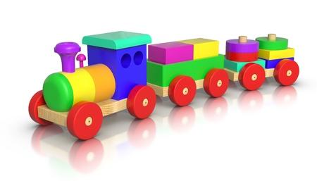 locomotora: Tren de juguete de madera sobre fondo blanco.