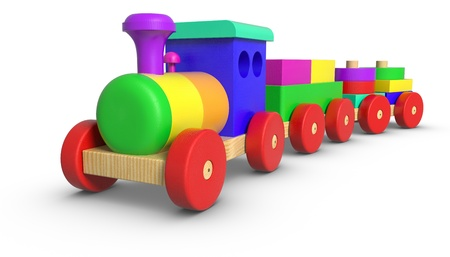juguete: Tren de juguete de madera sobre fondo blanco.
