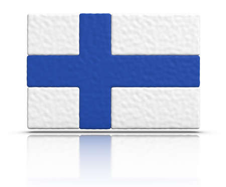 made in finland: Flag of Finland made with plasticine material. Stock Photo