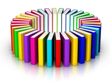 Circle of colourful books Stock Photo
