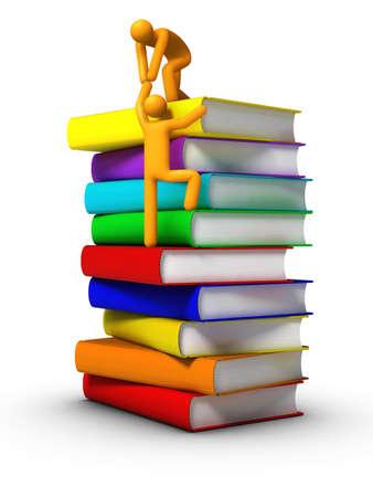Climbing to the books photo