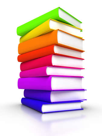 Stack of colourful books photo