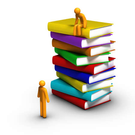Stick figure sitting on stack of colourful books Stock Photo - 12156290