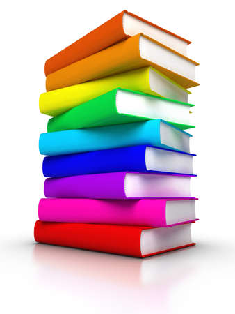 handbooks: Stack of colourful books Stock Photo