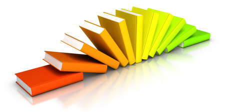 book spine: 3D rendered row of colourful books Stock Photo