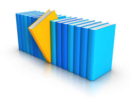 handbooks: 3D rendered row of colourful books Stock Photo