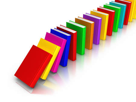 continuity: Row of colourful books