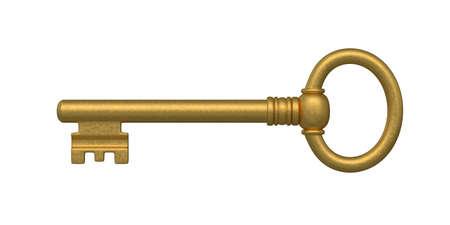 house keys: Beautiful golden skeleton key  isolated on white