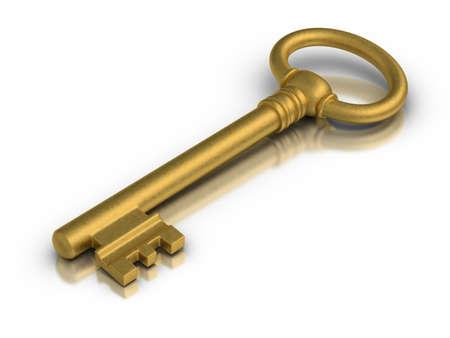Beautiful golden skeleton key on white reflective surface  Stock Photo - 13040715