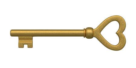 Beautiful golden skeleton key  isolated on white  photo