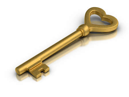 Beautiful golden skeleton key on white reflective surface. photo