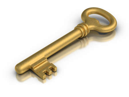 Beautiful golden skeleton key on white reflective surface.